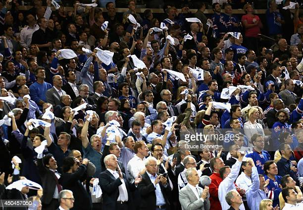 A general view of fans cheering during the National Anthem prior to Game Four of the 2014 NHL Stanley Cup Final between the New York Rangers and the...