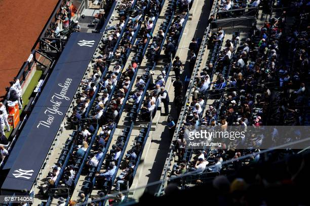 A general view of fans during the game between the Tampa Bay Rays and the New York Yankees at Yankee Stadium on Monday April 10 2017 in the Bronx...