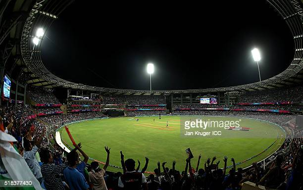 General view of fans during the ICC World Twenty20 India 2016 SemiFinal match between West Indies and India at Wankhede Stadium on March 31 2016 in...