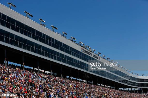 A general view of fans during the Monster Energy NASCAR Cup Series O'Reilly Auto Parts 500 at Texas Motor Speedway on April 9 2017 in Fort Worth Texas