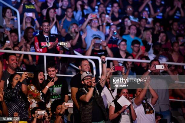 A general view of fans during the UFC 212 weighin at Jeunesse Arena on June 2 2017 in Rio de Janeiro Brazil