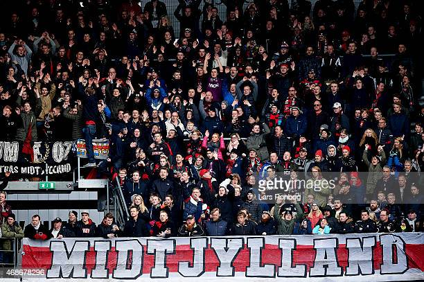 General view of fans from FC Midtjylland during the Danish Alka Superliga match between Esbejrg fb and FC Midtjylland at Blue Water Arena on April 5...