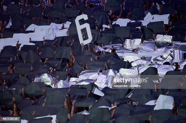 A general view of fans of Botafogo during the match between Botafogo and Union Espanola as part of Copa Bridgestone Libertadores 2014 at Maracana on...