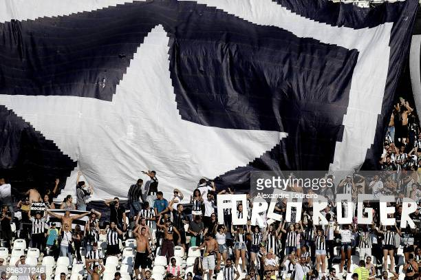 A general view of fans of Botafogo honoring the player Roger who was diagnosed with a kidney tumor before the match between Botafogo and Vitoria as...