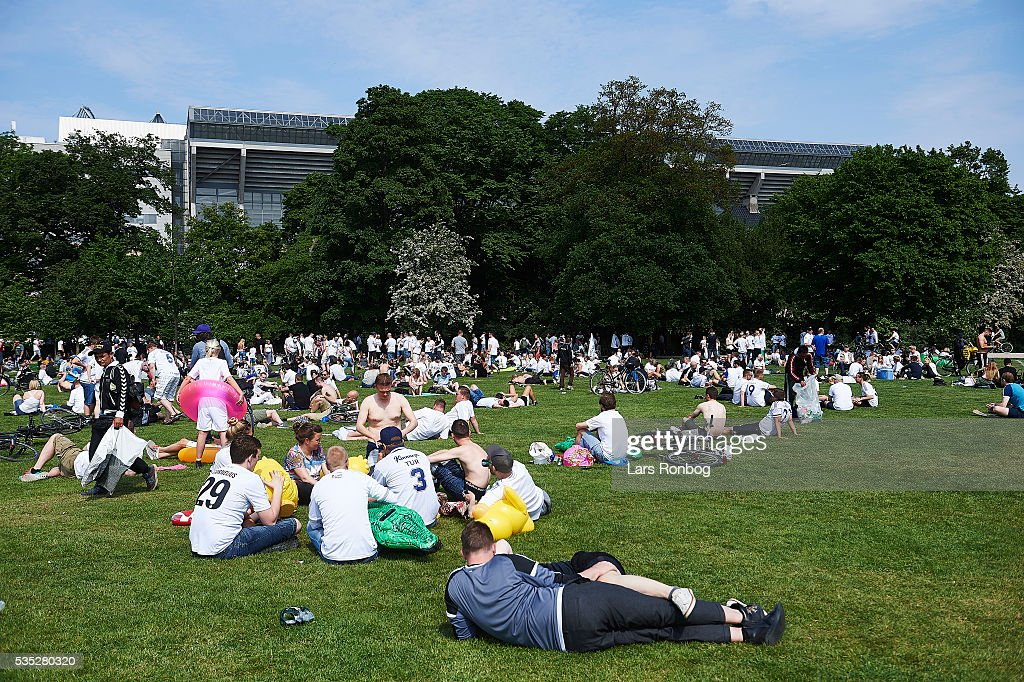 General view of fans of FC Copenhagen waiting in front of the stadium prior to the Danish Alka Superliga match between FC Copenhagen and AGF Aarhus at Telia Parken Stadium on May 29, 2016 in Copenhagen, Denmark.