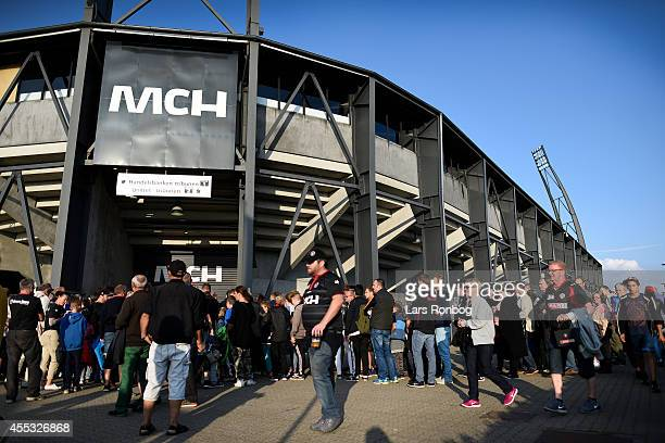 General view of fans of FC Midtjylland on waiting outside the stadium prior to the Danish Superliga match between FC Midtjylland and OB Odense at MCH...