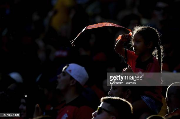 A general view of fans of Flamengo before the match between Fluminense and Flamengo as part of Brasileirao Series A 2017 at Maracana Stadium on June...