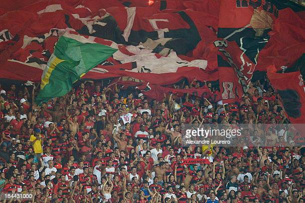 A general view of fans of Flamengo during the match between Flamengo and Botafogo for the Brazilian Series A 2013 at Maracana on October 13 2013 in...