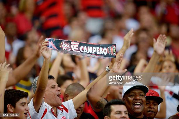 A general view of fans of Flamengo during the match between Flamengo and Cruzeiro for the Brazilian Series A 2013 at Maracana on December 7 2013 in...