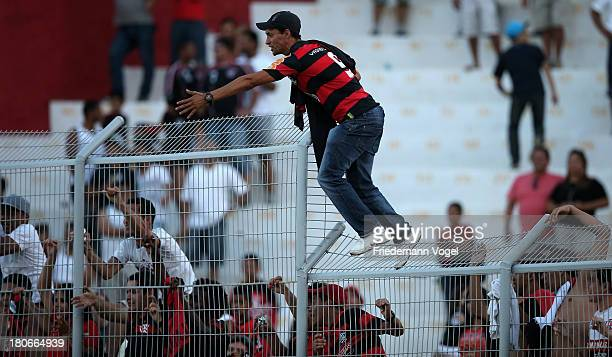 A general view of fans of Flamengo during the match between Ponte Preta and Flamengo for the Brazilian Series A 2013 at Moisés Lucarelli stadium on...