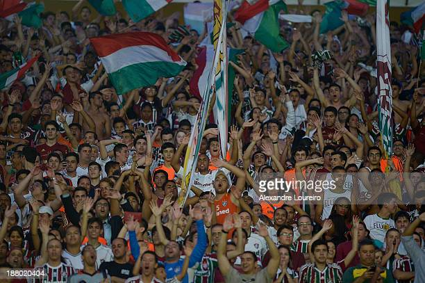 A general view of fans of Fluminense during the match between Fluminense and Nautico for the Brazilian Series A 2013 at Maracana on November 14 2013...