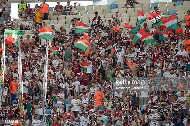 A general view of fans of Fluminense during the match between Fluminense and Ponte Preta for the Brazilian Series A 2013 at Maracana on October 19...