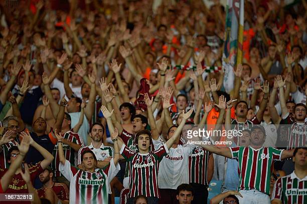 A general view of fans of Fluminense during the match between Flamengo and Fluminense for the Brazilian Series A 2013 at Maracana on November 3 2013...