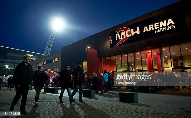 General view of fans outside MCH Arena before match day prior to the Danish Alka Superliga match between FC Midtjylland and OB Odense at MCH Arena on...
