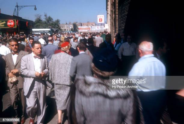 General view of fans outside of Fenway Park before an MLB game with the Boston Red Sox circa 1950's in Boston Massachusetts