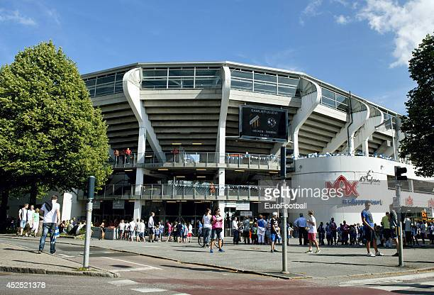 A general view of fans outside the Gamla Ullevi Stadium before the Swedish Allsvenskan League match between IFK Goteborg and Helsingborg at the Gamla...