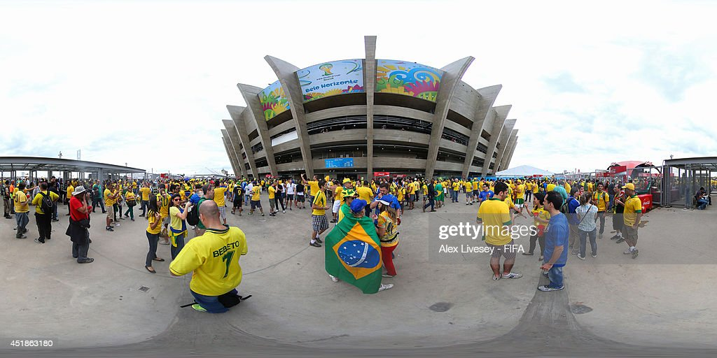 A general view of fans outside the stadium before the 2014 FIFA World Cup Brazil semifinal match between Brazil v Germany at Estadio Mineirao on July...