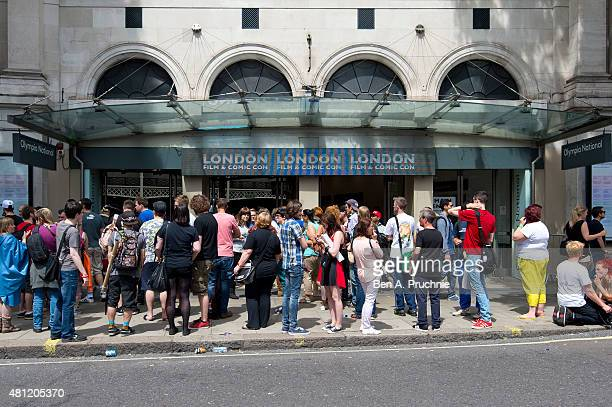 A general view of fans visiting the London Film and Comic Con at Olympia Exhibition Centre on July 18 2015 in London England