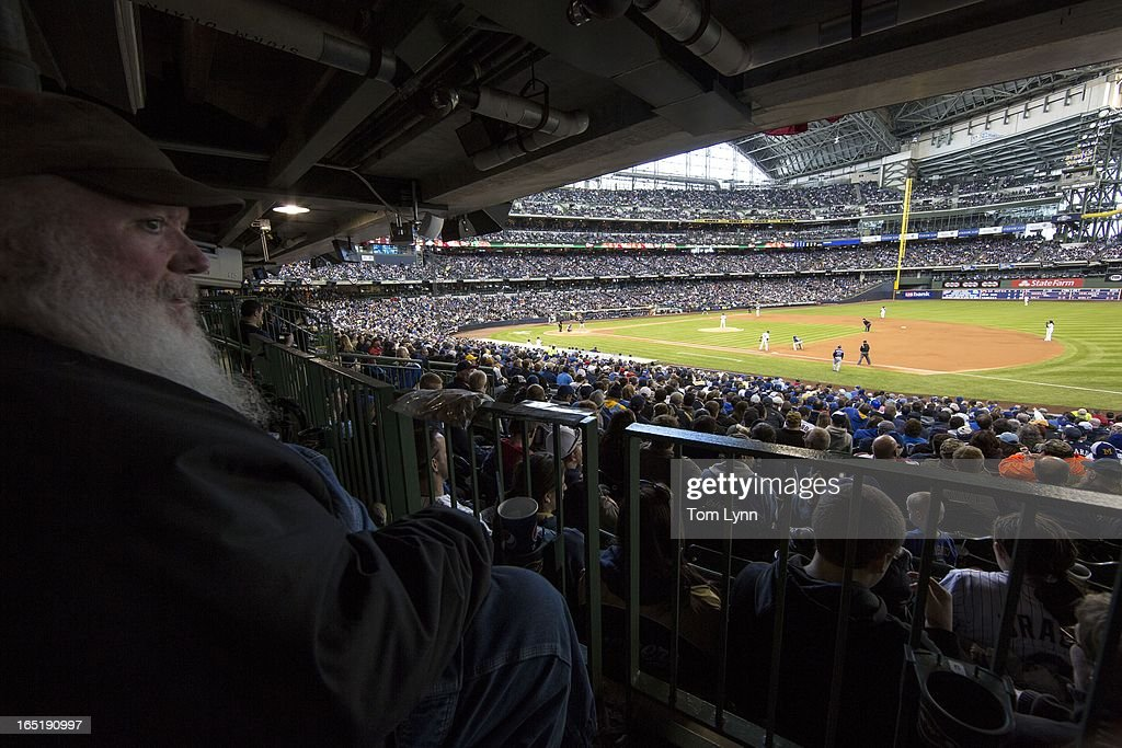 General view of fans watch the Colorado Rockies and Milwaukee Brewers on opening day at Miller Park on April 1, 2013 in Milwaukee, Wisconsin.