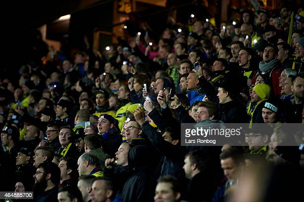General view of fans with smartphone light when some of the floodlights in the stadium went out during the Danish Alka Superliga match between...