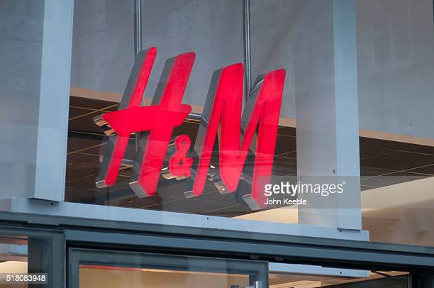 A general view of fashion retailers HM signage in Cheapside on March 26 2016 in London England