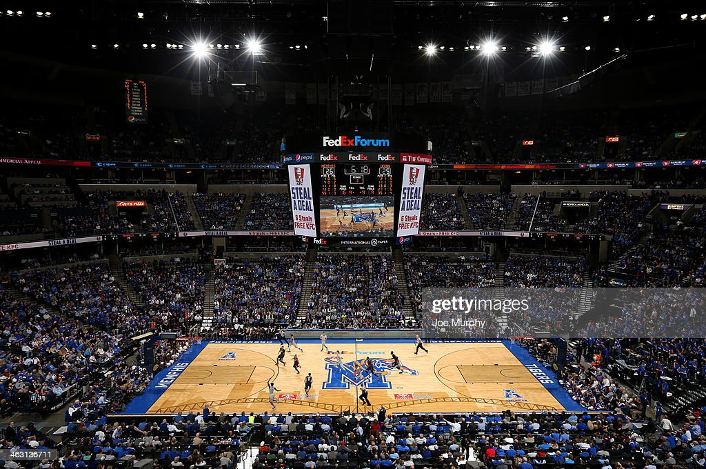 A general view of FedExForum during a game between the Memphis Tigers and the Connecticut Huskies on January 16, 2014 at FedExForum in Memphis, Tennessee. Connecticut beat Memphis 83-73.