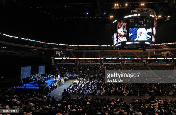 A general view of FedExForum during a memorial service honoring the life of Lorenzen Wright on August 4 2010 at FedExForum in Memphis Tennessee NOTE...