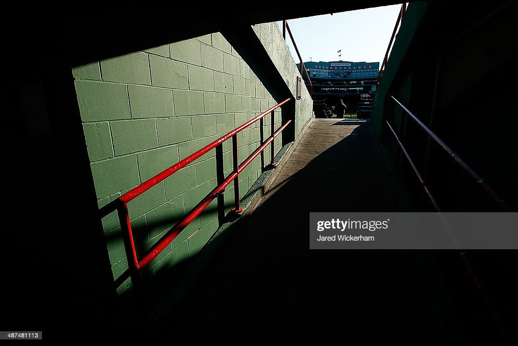 A general view of Fenway Park as seen from the tunnel of the bleacher seats prior to the game between the Boston Red Sox and the New York Yankees during the game at Fenway Park on April 24, 2014 in Boston, Massachusetts.