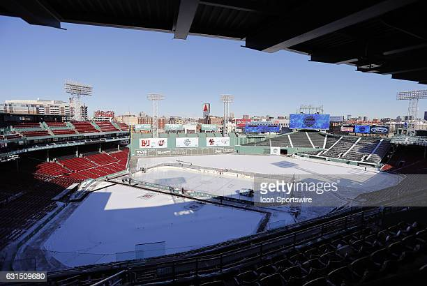 A general view of Fenway Park before a Frozen Fenway NCAA Men's Division 1 hockey game between the Boston University Terriers and the University of...