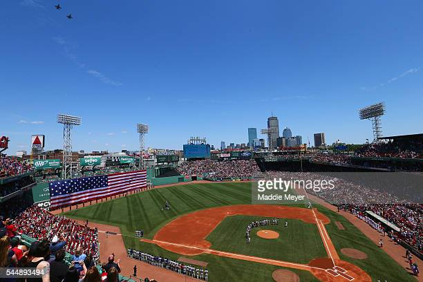 A general view of Fenway Park before the game between the Boston Red Sox and the Texas Rangers at Fenway Park on July 4 2016 in Boston Massachusetts