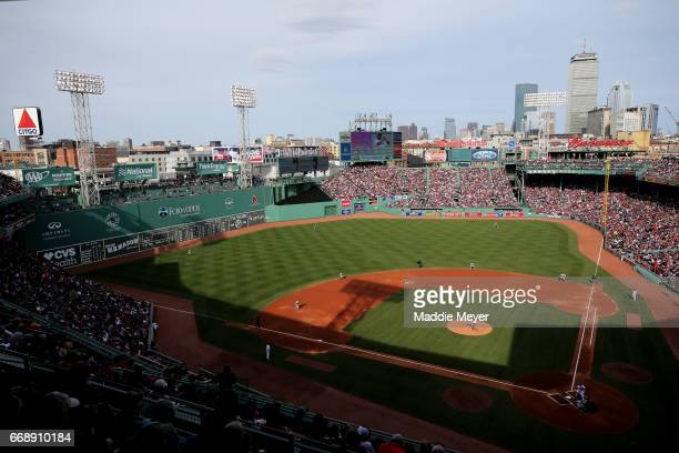 A general view of Fenway Park during the game between the Boston Red Sox and the Tampa Bay Rays on April 15 2017 in Boston Massachusetts All players...