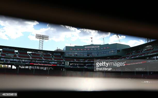 A general view of Fenway Park from inside the Green Monster before Game 2 of the 2013 World Series between the Boston Red Sox and the St Louis...