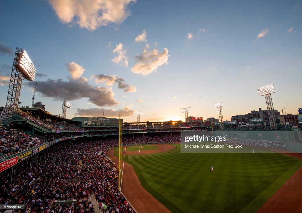General view of Fenway Park from left field during a game between the Boston Red Sox and the Baltimore Orioles on May 2, 2017 in Boston, Massachusetts.
