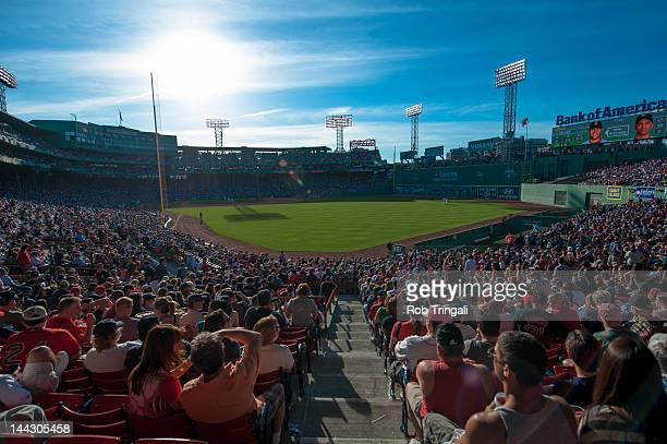 A general view of Fenway Park from the outfield during a day game during the game between the New York Yankees and the Boston Red Sox on April 20...