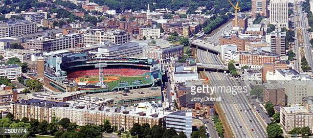 General view of Fenway Park from the Presidential building prior to the American League game between the Boston Red Sox and the New York Yankees at...