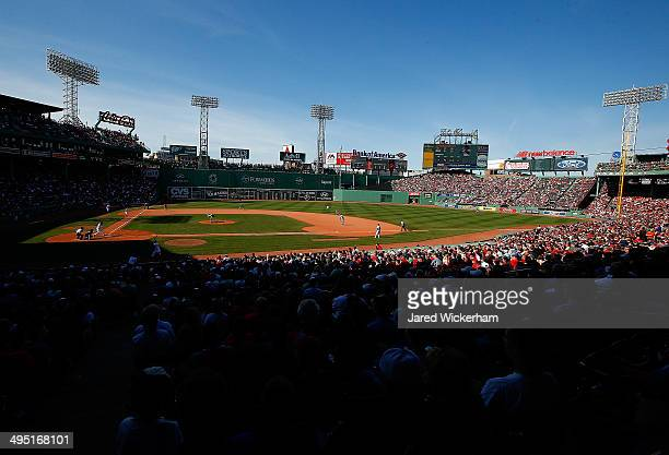 A general view of Fenway Park is shown while Koji Uehara of the Boston Red Sox pitches against the Tampa Bay Rays in the 9th inning during the game...