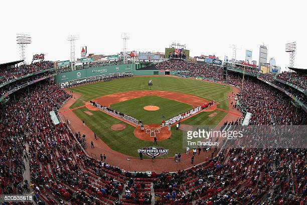 A general view of Fenway Park prior to the home opener between the Boston Red Sox and the Baltimore Orioles on April 11 2016 in Boston Massachusetts