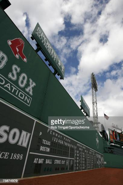 A general view of Fenway Park's Green Monster before a game between the Texas Rangers and the Boston Red Sox on June 11 2006 at Fenway Park in Boston...