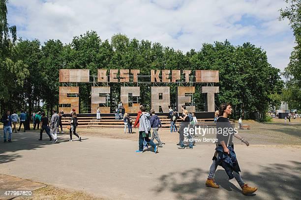 General view of festival goers at the entrance for Best Kept Secret Festival at Beekse Bergen on June 20 2015 in Hilvarenbeek Netherlands