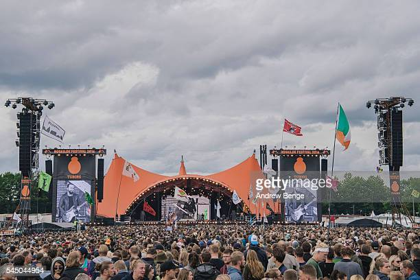 General view of festival goers for Dizzy Mizz Lizzy at the Orange stage during Roskilde Festival 2016 on July 02 2016 in Roskilde Denmark