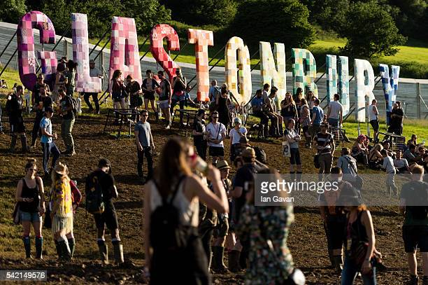 A general view of festival goers in the sunshine at the Glastonbury Festival at Worthy Farm Pilton on June 22 2016 in Glastonbury England Now its...