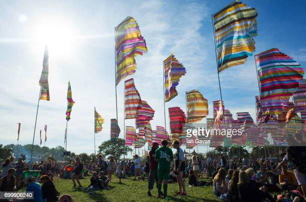 A general view of festivalgoers near the West Holts Stage on day 1 of the Glastonbury Festival 2017 at Worthy Farm Pilton on June 22 2017 in...