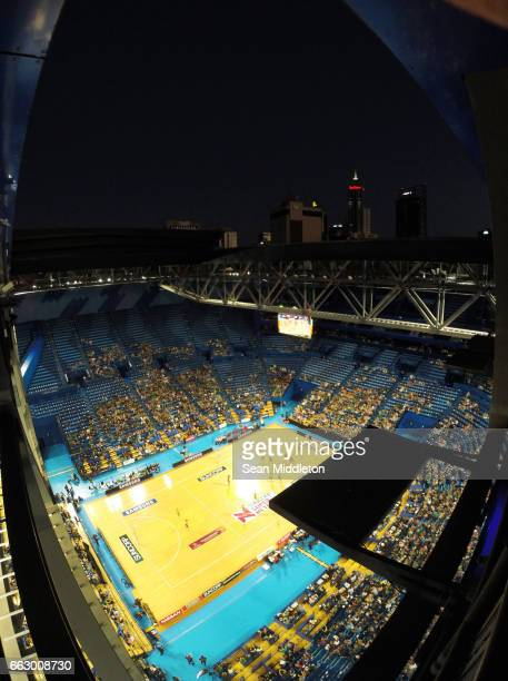 General view of Fever vs Thunderbirds competes during the round seven Super Netball match between the Fever and the Thunderbirds at Perth Arena on...