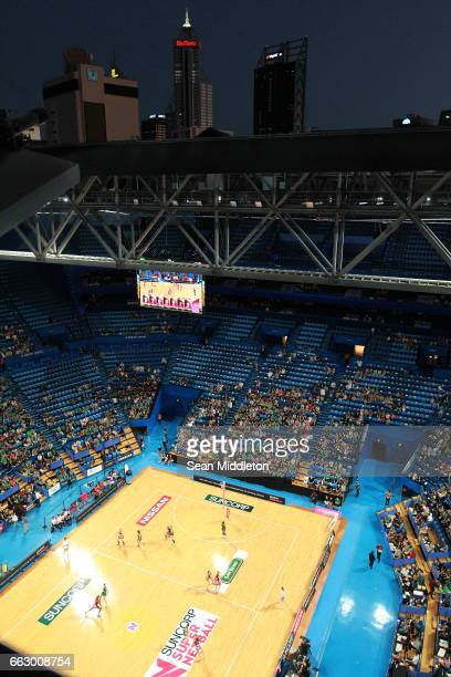 General view of Fever Vs Thunderbirds during the round seven Super Netball match between the Fever and the Thunderbirds at Perth Arena on April 1...