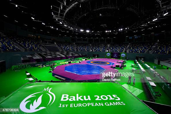 A general view of final preparations being made at the Heydar Aliyev Arena ahead of Baku 2015 the first European Games on June 11 2015 in Baku...