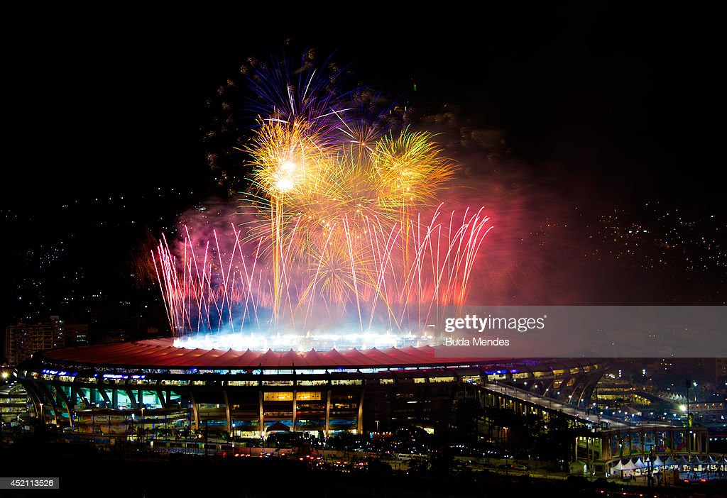 General view of fireworks after the 2014 FIFA World Cup Brazil Final between Germany v Argentina at Maracana Stadium on July 13 2014 in Rio de...