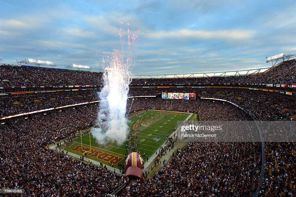 General view of fireworks are displayed as Robert Griffin III #10 of the Washington Redskins is introduced prior to their NFC Wild Card Playoff Game against the Seattle Seahawks at FedExField on January 6, 2013 in Landover, Maryland.
