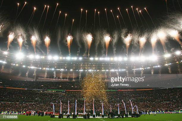 A general view of fireworks as South Africa lift the trophy following their victory at the end of the 2007 Rugby World Cup Final between England and...
