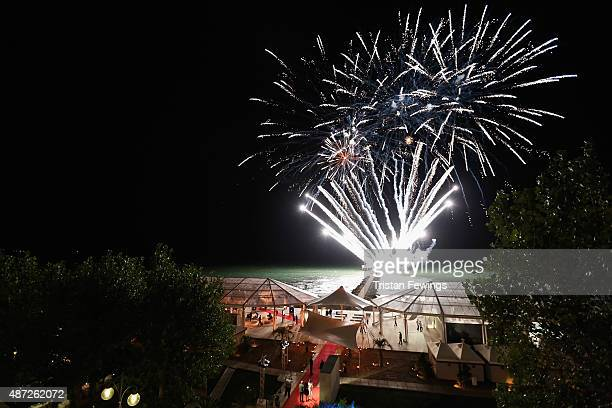 General view of fireworks at the JaegerLeCoultre gala event celebrating 10 years of partnership with La Mostra Internazionale d'Arte Cinematografica...