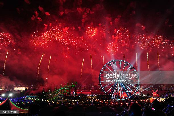 General view of fireworks during the 20th annual Electric Daisy Carnival at Las Vegas Motor Speedway on June 18 2016 in Las Vegas Nevada